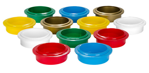 Pacojet products, accessories, Beaker Lids in six colours: red, white, yellow, blue, green and golden