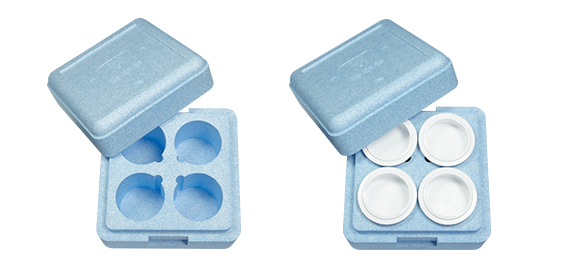 Pacojet products, accessories, blue Insulating Box with lid, with space for four beaker